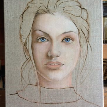 Face on linen (3) – first oil layers