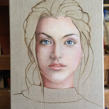 Face on Linen – finished painting